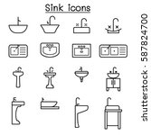 sink icon set in thin line style | Shutterstock .eps vector #587824700