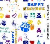 birthday pattern  happy .high... | Shutterstock . vector #587825606