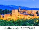 alhambra of granada  spain....   Shutterstock . vector #587827676