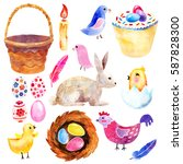 watercolor easter set | Shutterstock . vector #587828300