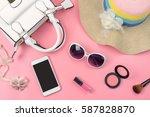 woman handbag with makeup ... | Shutterstock . vector #587828870