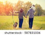 happy family with dog walking... | Shutterstock . vector #587831036