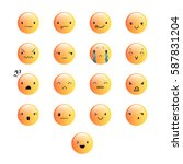 yellow emoticons with different ... | Shutterstock .eps vector #587831204