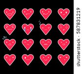 heart emoticons with different...   Shutterstock .eps vector #587831219