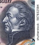 Small photo of Jose Gervasio Artigas Arnal (1764 - 1850) portrait on Uruguay 50 pesos (1989) banknote closeup. Father of Uruguayan nationhood, Uruguay national hero.