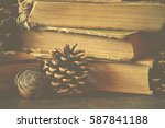 old vintage books on wooden... | Shutterstock . vector #587841188