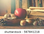 old vintage books on wooden... | Shutterstock . vector #587841218