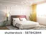 bedroom interior. 3d... | Shutterstock . vector #587842844