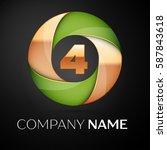number four vector logo symbol...   Shutterstock .eps vector #587843618