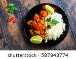 traditional indian cuisine ... | Shutterstock . vector #587843774