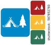 stylized icon of tourist tent.... | Shutterstock .eps vector #587852783