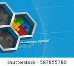 geometric puzzle colors shape...   Shutterstock .eps vector #587855780