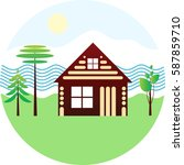 set icon   wooden house  river  ... | Shutterstock .eps vector #587859710