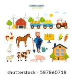 farming elements concept. farm... | Shutterstock .eps vector #587860718
