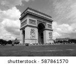 triumphal arch in paris in... | Shutterstock . vector #587861570