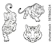 tiger set  isolated on white... | Shutterstock .eps vector #587866214