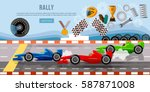 car racing banner. tyre drift... | Shutterstock .eps vector #587871008