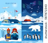 travel to antarctica banners.... | Shutterstock .eps vector #587872343