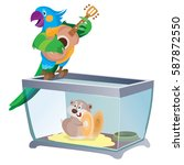 parrot plays guitar  hamster on ... | Shutterstock .eps vector #587872550