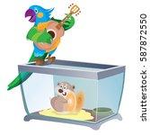 parrot plays guitar  hamster on ... | Shutterstock .eps vector #587872550