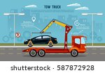 tow truck in the city. car... | Shutterstock .eps vector #587872928