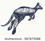 kangaroo double exposure tattoo ...   Shutterstock .eps vector #587875088