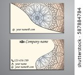 visiting card and business card ... | Shutterstock .eps vector #587884784