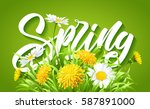 inscription spring time on... | Shutterstock .eps vector #587891000