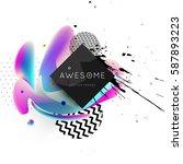 memphis geometric background...   Shutterstock .eps vector #587893223