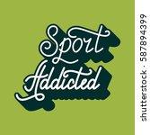 hand drawn retro lettering gym... | Shutterstock .eps vector #587894399