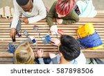 top view of multiracial friends ...   Shutterstock . vector #587898506