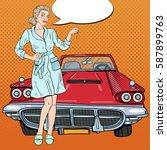pop art blonde woman with car...   Shutterstock .eps vector #587899763