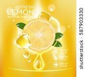 lemon fruit serum moisture skin ...   Shutterstock .eps vector #587903330