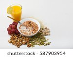 healthy eating. muesli bowl | Shutterstock . vector #587903954