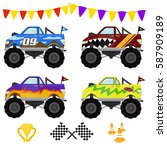 monster truck vector art design | Shutterstock .eps vector #587909189