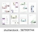 memphis geometric background... | Shutterstock .eps vector #587909744