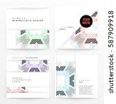 memphis geometric background... | Shutterstock .eps vector #587909918
