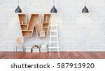 a library with bookshelves a... | Shutterstock . vector #587913920