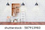a library with bookshelves a... | Shutterstock . vector #587913983