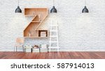 a library with bookshelves a... | Shutterstock . vector #587914013