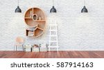 a library with bookshelves a... | Shutterstock . vector #587914163