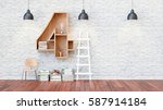 a library with bookshelves a... | Shutterstock . vector #587914184