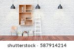 a library with bookshelves a...   Shutterstock . vector #587914214