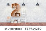 a library with bookshelves a... | Shutterstock . vector #587914250