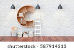 a library with bookshelves a... | Shutterstock . vector #587914313