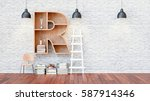 a library with bookshelves a... | Shutterstock . vector #587914346