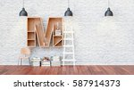 a library with bookshelves a... | Shutterstock . vector #587914373