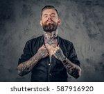 studio portrait of bearded... | Shutterstock . vector #587916920