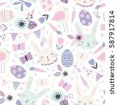 vector seamless easter pattern... | Shutterstock .eps vector #587917814