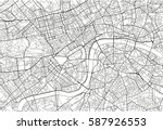 black and white vector city map ... | Shutterstock .eps vector #587926553